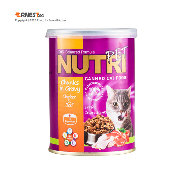 کنسرو غذای گربه نوتری حاوی گوشت مرغ و گاو وزن 425 گرم عکس استفاده شده در سایت ارنست 24 - ernest24.com