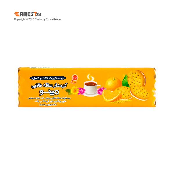 بیسکویت ساقه طلایی کرم دار با طعم پرتقال مینو وزن 192 گرم عکس استفاده شده در سایت ارنست 24 - ernest24.com