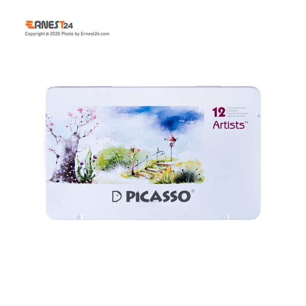 مداد رنگی 12 رنگی پیکاسو مدل آرتیست بسته بندی فلزی عکس استفاده شده در سایت ارنست 24 - ernest24.com