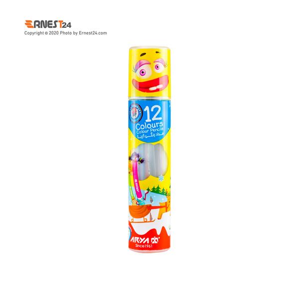 مداد رنگی 12 رنگ آریا بسته بندی استوانه ای عکس استفاده شده در سایت ارنست 24 - ernest24.com