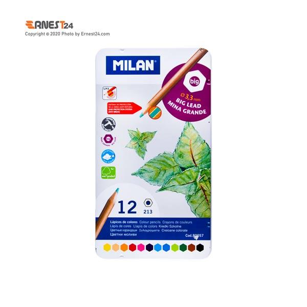 مداد رنگی 12 رنگ میلان سایز 3.3mm بسته بندی فلزی عکس استفاده شده در سایت ارنست 24 - ernest24.com