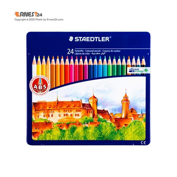 مداد رنگی 24 رنگ استدلر بسته بندی فلزی عکس استفاده شده در سایت ارنست 24 - ernest24.com