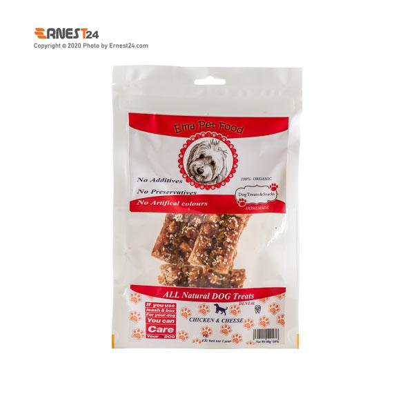 غذای تشویقی سگ اسنک مرغ و پنیر اِما پت فود 80 گرم عکس استفاده شده در سایت ارنست 24 - ernest24.com