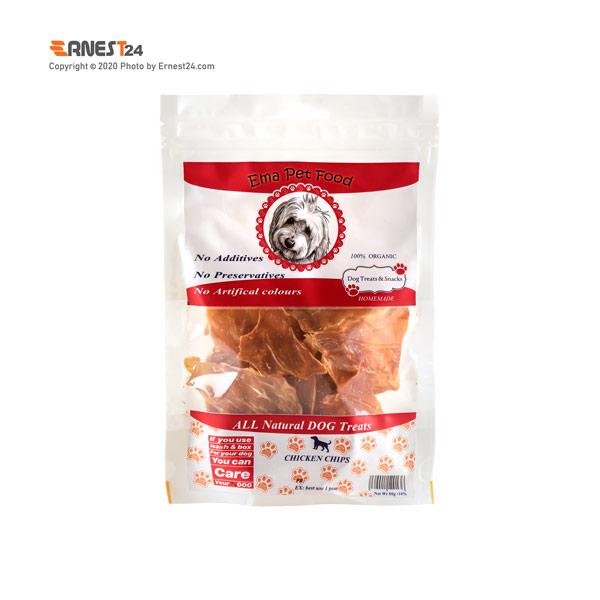 غذای تشویقی سگ چیپس سینه مرغ اِما پت فود 80 گرم عکس استفاده شده در سایت ارنست 24 - ernest24.com