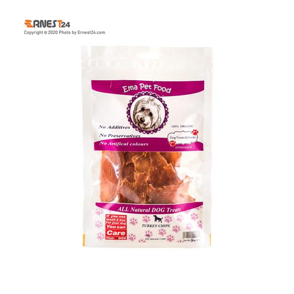 غذای تشویقی سگ چیپس سینه بوقلمون اِما پت فود 100 گرم عکس استفاده شده در سایت ارنست 24 - ernest24.com