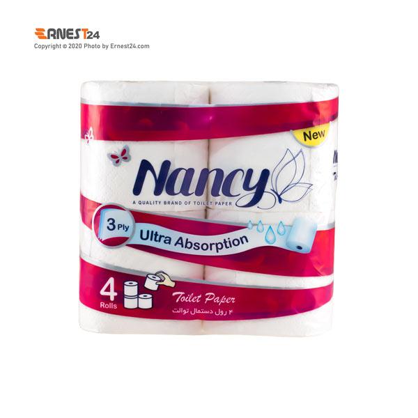 دستمال توالت رولی سه لایه نانسی بسته 4 عددی عکس استفاده شده در سایت ارنست 24 - ernest24.com