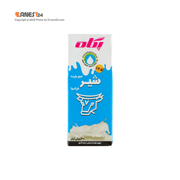 شیر نیم چرب پگاه حجم 200 میلی لیتر عکس استفاده شده در سایت ارنست 24 - ernest24.com