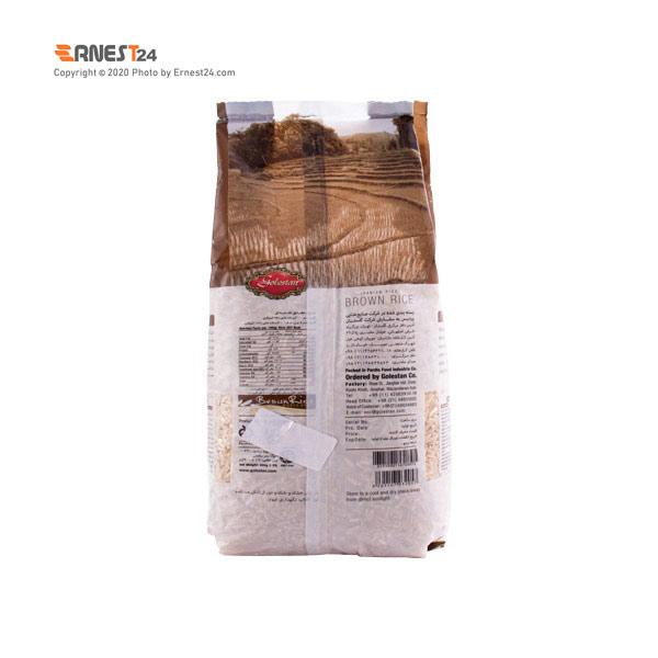 برنج قهوه ای سبوس دار گلستان وزن ۹۰۰ گرم نمای پشت کالا عکس استفاده شده در سایت ارنست 24 - ernest24.com